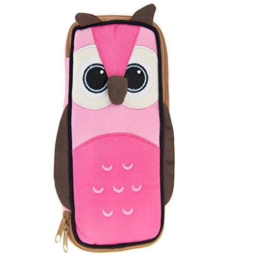 Federmäppchen aus Segeltuch, Kosmetiktasche, Motiv: Eule, Pinguin, Taschen mit Reißverschluss, große Kapazität Stifthalter, für Kinder, Elèves 20 * 9cm Style 1