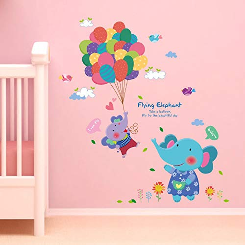 Nette Karikatur Elefant Bunte Luftballons Wandaufkleber für Kinderzimmer Kindergarten Wohnzimmer Kunst Decals Home Decoration Wandbilder