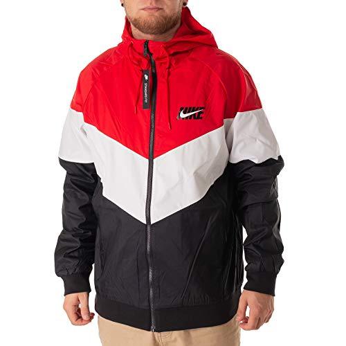 Block Track Jacke (Nike Herren Windrunner Kapuzenjacke Jacke, rot, XL-52/54)