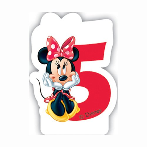 Minnie Cafã©-Birthday Numeral Candle No5 , Kids Birthday Party Supplies , Disney Minnie Mouse Theme Birthday Party , Minnie Birthday Candles (Pack Of 1)