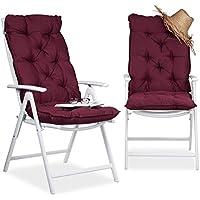 Relaxdays Juego de Cojines para Sillón de Exterior Acolchados, Tela, Rojo, 115x47x9 cm