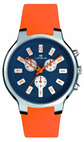 Lorenz 26783BB - Reloj analógico de Cuarzo Unisex, Correa de Silicona Color Naranja