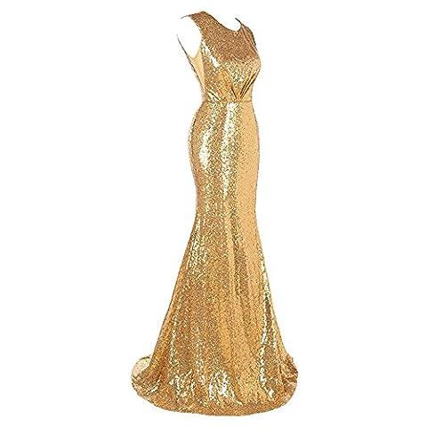 Women'S Evening Long Dress Sequins Wedding Party Bridal Bridesmaids Birthday Banquet Sleeveless Dresses . Gold . Us6