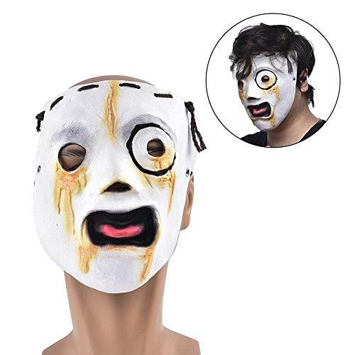 HAWPPWY Halloween Halloween Slipknot Mask Horror Realistische Latex Ghost Gesichtsmaske Mit Hanfseil Cosplay Karneval Kostüm Party Dekoration Requisiten, Weiß