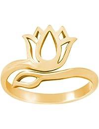 82d6e1f5f81e Gemshine - Anillo - Plata de Ley chapada en Oro de 18 quilates - Flor de