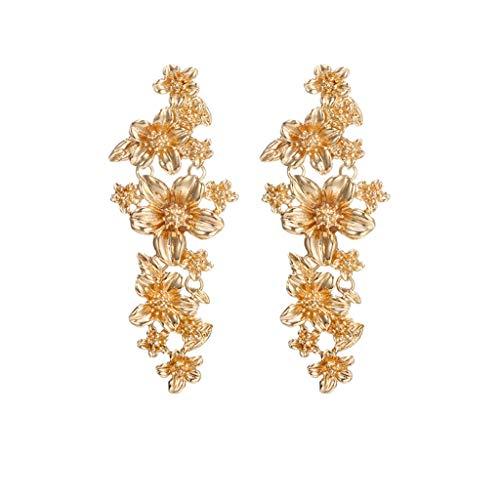 Mypace 925 Silber Gold Set Creolen hängende Ohrringe Für Damen Frauen böhmischen ethnischen Stil Mode Jasmin Blumen lange Ohrringe Schmuck (Gold)