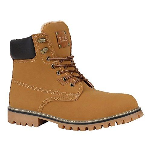 Stiefelparadies Herren Worker Boots Profilsohle Flandell, Hellbraun Braun Berkley, 43 EU - Schuhe Hop Hip