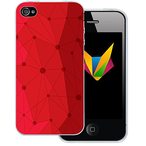 Mobilefox Grafik transparente Silikon TPU Schutzhülle 0,7mm dünne Handy Soft Case für Apple iPhone 4/4S Grafik Atomium Rot