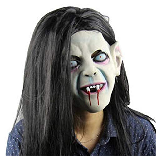 Halloween Kostüm Gruselige Scary Halloween Kopfmaske Latex-Horror-Kopfbedeckung Toothy Sadako Zombie-Geist mit Haar Haunted Mask für Cosplay Party Kostüm Prop Fancy Dress Maske