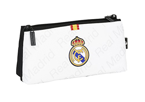 safta- Real Madrid-Neceser pequeño Doble 811557548, Color Blanco, 22 cm (