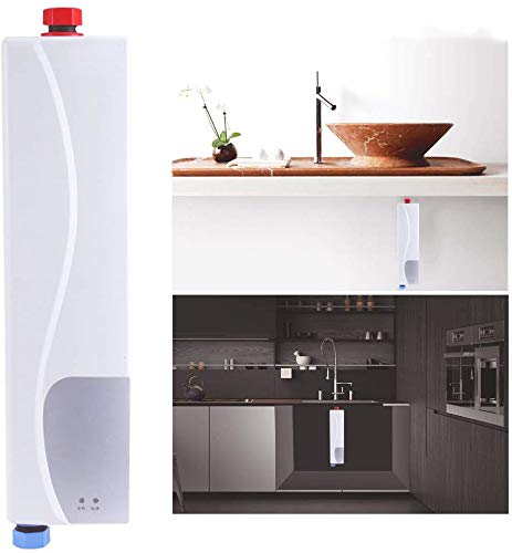 Calentador de Agua Electrico Instantaneo, Termo Calentadores Eléctricos Bajo Consumo Mini 3000W 220V con Válvula de…