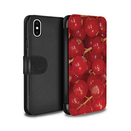 Stuff4 Coque/Etui/Housse Cuir PU Case/Cover pour Apple iPhone X/10 / Pack 18pcs Design / Fruits Juteux Collection Groseille