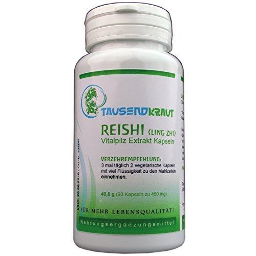 Reishi Extrakt (90 Kapseln) Nahrungsergänzungsmittel - Vitalpilz [Ganoderma lucidum, Ling Zhi] Tausendkraut (90 Leben Kapseln)