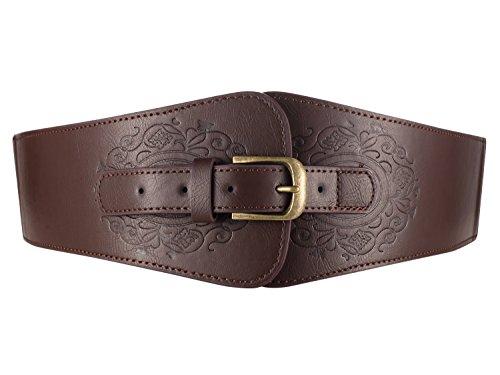 Motase Cinturones de Mujer Cuero de Imitación Elástico Ancho con Estampado Flores M Marrón