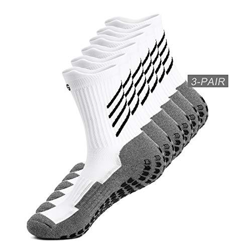 sport Socken herren damen, Dicke, Deodorant Atmungsaktive anti-rutsch athleticsocke für fußball Basketball Yoga Handball Trekking Laufen Radfahren, Schwarz/Weiß (Weiß-3Paar) ()