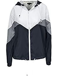 Candy Floss Fashion Amber Apparel New Ladies Women'S Hooded Panelled Long Sleeved Windbreaker Jacket Sports Top