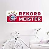 Wandtattoo Rekordmeister Bayern München Banner FCB Rekordmeister Fußball Bundesliga Fans Meister Sterne Logo Wall-Art - 60x20cm
