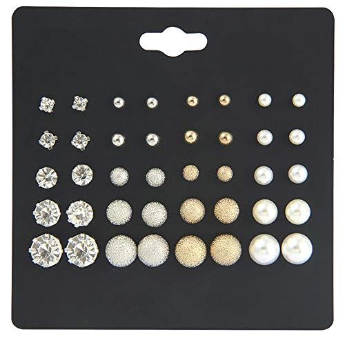 Lovinda Mädchen gold versilbert ohrstecker set runde perle zirkon 20-pair set frauen mode kreative ohrring set günstige schmuck für dame geburtstagsgeschenk x 1 set