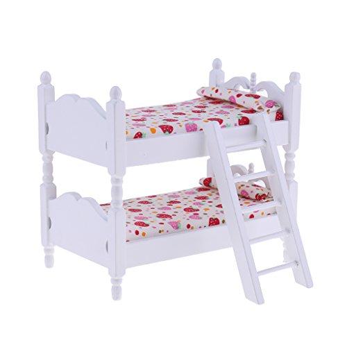 Sharplace Miniatur Holz Etagenbett Stockbett für 1/12 Puppenhaus Kinderzimmer Deko - # Erdbeere (Etagenbett Puppenhaus)