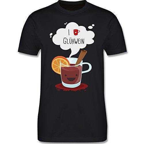 Weihnachten & Silvester - I love Glühwein glückliche Tasse - Herren Premium T-Shirt Schwarz