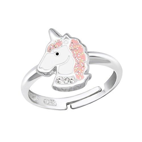 Tata Gisèle Anillo infantil de plata 925/000rhodié, cristal y epoxy-ajustable-Unicornio