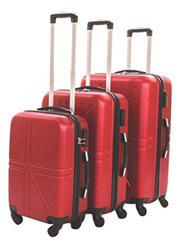 Dublin set da 3 pezzi valige trolly in abs e policarbonato con 4 ruote girevoli 360° gradi colori vari (rosso burgundy)