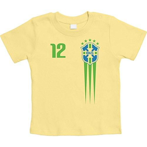 Brasilien Fanartikel für Babys zur WM 2018 Unisex Baby T-Shirt Gr. 66-93 18-24 Monate/93 Gelb (Home Fußball-trikot Gelb)