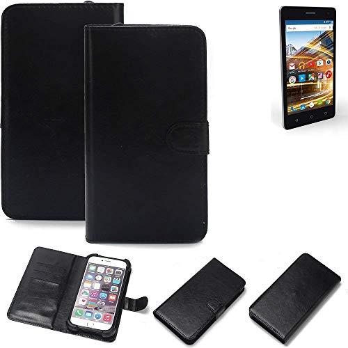 K-S-Trade 360° Wallet Case Handyhülle für Archos 50d Neon Schutz Hülle Smartphone Flip Cover Flipstyle Tasche Schutzhülle Flipcover Slim Bumper schwarz, 1x