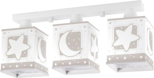 Dalber 63233E - Lámpara colgante, 3 luces, diseño luna, color gris