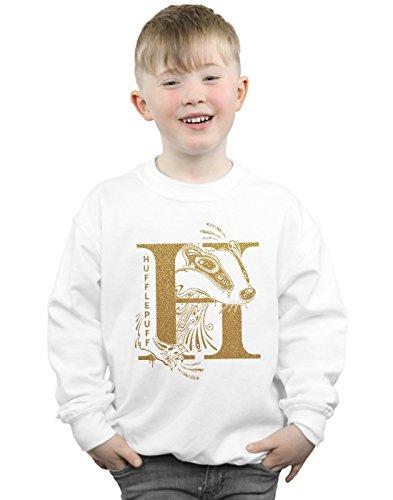 Harry Potter Jungen Hufflepuff Glitter Sweatshirt Weiß 7-8 Years - Herren Sweatshirt Glitter