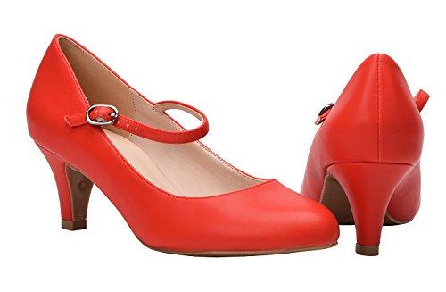 CAMSSOO con Cinturino Alla Caviglia Donna Red Soft PU
