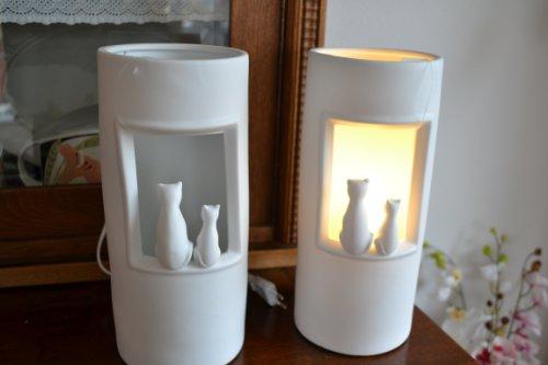 Standleuchte - Lampe weiss -Tischlampe Stehleuchte Nachttischleuchte Wohnzimmerlampe Design: Katzen im Lichtschein, Höhe 28 cm -