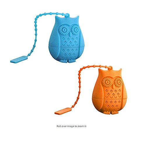 ute Eule Silikon Tee-Filter, wiederverwendbare Safe Loose Leaf Teebeutel Sieb Filter (Blau + Orange) (Cute Tee-sets)