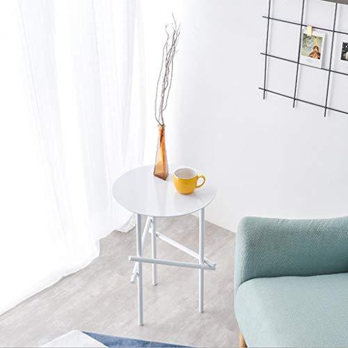 T-Day Beistelltische Nachttisch Tische Couchtisch Bügeleisen Balkon Kleiner Couchtisch Wohnzimmer Sofa Seite Kleine runde Seite, 40 * 40 * 58 cm (Color : White) | Garten > Balkon > Balkontische | T-Day