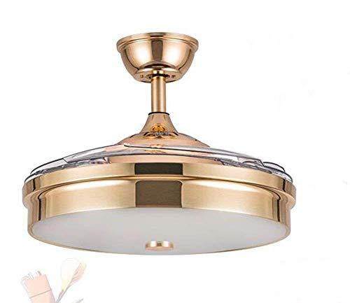 SPA ® Modern und einfach - das Wohnzimmer - Deckenventilatoren mit LED-Lampe - Stealth-Kronleuchter mit Gebläse Gold - Dimmer - Wandsteuerungsdurchmesser 92 cm -