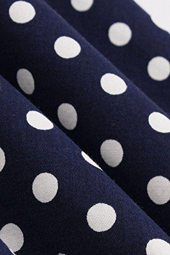 Damen kleider 50er jahre stil Vintage Polka Dots Knielang Navyblau 4XL - 6
