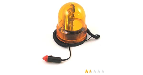 Amber Revolving Beacon Hazard Lamp Warning Flashing Light Magnetic Base TO086