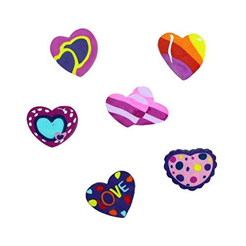 6 x Radiergummi als Set - buntes Herzen / - kleines Geschenk / Mitgebsel für Kindergeburtstag oder Motto Party - tolles Partyzubehör zum Auffüllen der Mitgebsel Tüte für Kinder