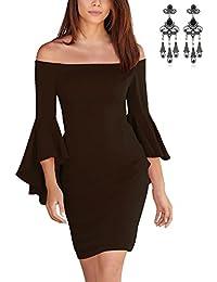 67765f7c43a92 CARINACOCO Mujeres Vestidos Elegante Verano Manga del Loto de Off Shoulder  Coctel Vestido de Fiesta de