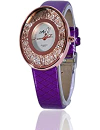 Fusine™ Amni Fashion Stone Studded 3D Leather Watch For Women (Oval) Party Wear (Purple)