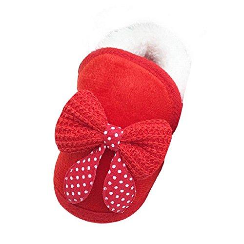 Auxma Pour 0-18 mois Chaussures de bébé Bébés garçons filles bowknot chaussures souples Sole Bottes chaussures chaudes Prewalker (6-12 M, Rose) Rouge
