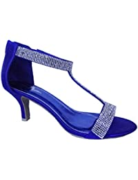 Krasceva Womens Ladies mid Low high Heel Strappy t bar Party Wedding Prom  Sandals Shoes Size 3f1a673366ab