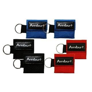 6 Pc Variety Bundle Ambu Res-Cue Key Mini CPR Mask Keychains (2-Rd, 2-Blu, 2-Blk)