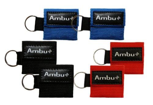 6PC Vielzahl Bundle AMBU res-cue Schlüssel Mini CPR Maske Schlüsselanhänger (2-rd, 2-blu, 2-blk)