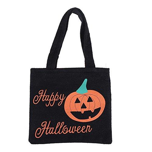 ForU-1 Halloween-Handtasche aus Vlies, Gespenster-Festival, Kindergeschenk, Süßigkeitentasche, Requisitentasche Schwarz (Halloween-nägel Orange Und Schwarze)