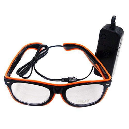 Livecity LED EL Draht Gläser, helle bis Glow Sonnenbrille Eyewear für Nachtclub Party, Weihnachten, plastik, Orange, Einheitsgröße