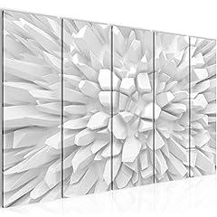 Idea Regalo - Quadro 3D - Fiore Decorazione Murale 200 x 80 cm vello - Tela Decorazione da Parete Misura XXL Salotto Appartamento Decorazione Stampe Artistiche Bianco A 5 pezzi - 100% MADE IN GERMANY - Pronte per l'applicazione 503955a