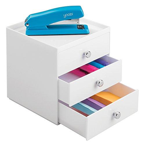 mDesign Schubladen Box - Farbe: Weiß - Schreibtisch Organizer mit 3 Schubladen - Praktisches Ordnungssystem Büro für einen aufgeräumten Arbeitsplatz - Weiß Schreibtisch Schrank