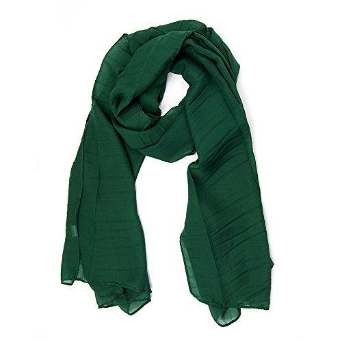ManuMar Schal für Damen | feines Hals-Tuch in dunkel-grün Unisex-Farben Uni-farben als perfektes Sommer-Accessoire | Das ideale Geschenk für Frauen