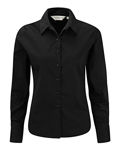 Russell Collection Women's Classic Twill Long Sleeve Shirt Noir